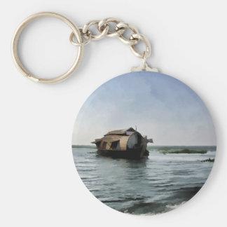 Porte-clés Bateau-maison au Kerala dans la lagune d'eau de