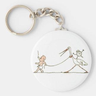 Porte-clés Bébé et cigogne