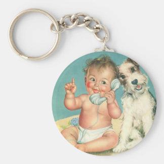 Porte-clés Bébé mignon vintage parlant sur le chiot de