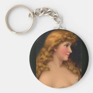 Porte-clés belle femme avec de longs cheveux