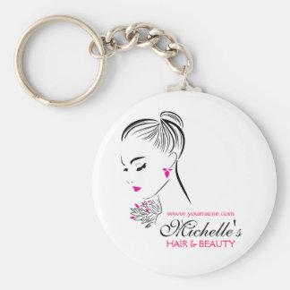 Porte-clés Belle femme avec le marquage à chaud rose de
