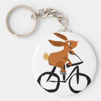 Porte-clés Bicyclette drôle d'équitation de lapin de Brown