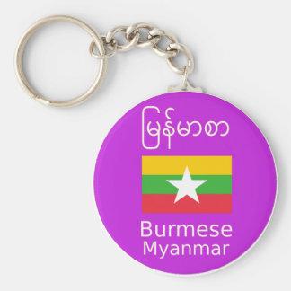 Porte-clés Birman/langue de Myanmar et conception de drapeau