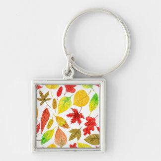 Porte-clés Blanc d'aquarelle de feuille d'automne
