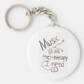 Porte-clés blanc de musicothérapie