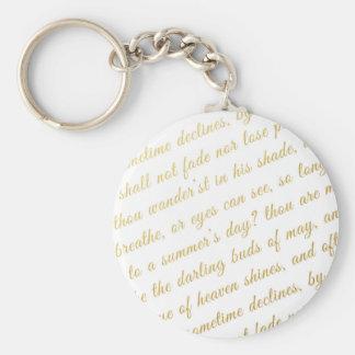 Porte-clés Blanc de poésie de typographie d'or de Faux de