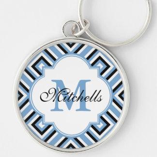 Porte-clés Bleu blanc noir moderne de porte - clé fait sur
