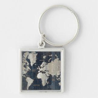 Porte-clés Bleu de carte de Vieux Monde