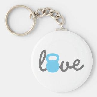 Porte-clés Bleu de Kettlebell d'amour