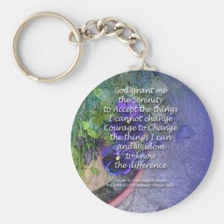 Porte-clés Bleu de pensée de prière de sérénité