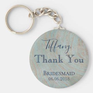 Porte-clés Bleu et cuivre de demoiselle d'honneur de Merci