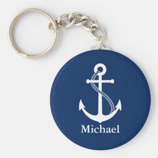 Porte-clés Bleu marine nautique nommé fait sur commande avec