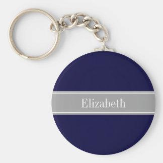 Porte-clés Bleu marine solide, monogramme gris-foncé de nom
