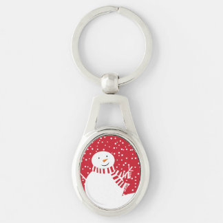 Porte-clés bonhomme de neige rouge et blanc contemporain