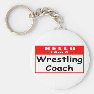 Porte-clés Bonjour, je suis un Nametag de lutte d'entraîneur…