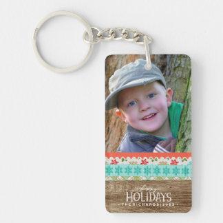 Porte-clés Bonnes fêtes photo en bois rustique de Noël