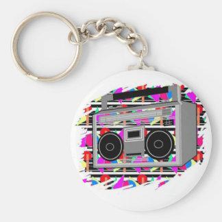 Porte-clés boombox stéréo des années 1980 de hip hop de