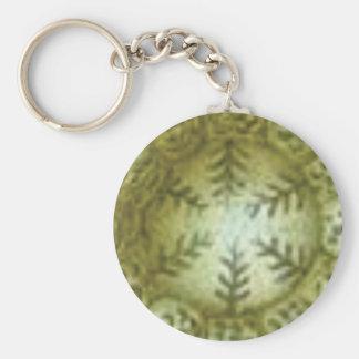 Porte-clés boule crème avec des fougères