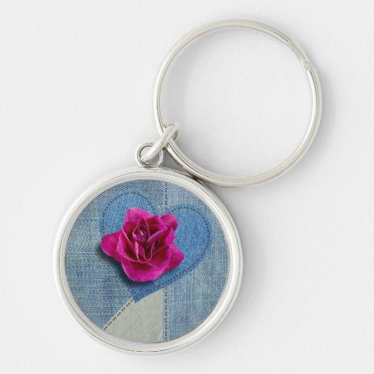 Porte-clés Bouton de rose sur patchwork en Jeans