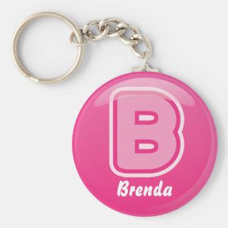 Porte-clés Bulle rose de la lettre B de porte - clé