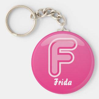 Porte-clés Bulle rose de la lettre F de porte - clé