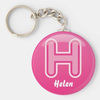Porte-clés Bulle rose de la lettre H de porte - clé