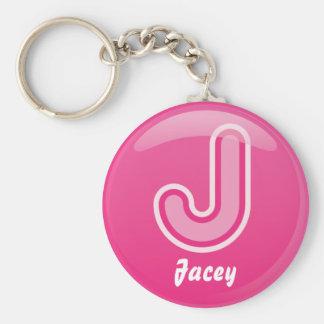 Porte-clés Bulle rose de la lettre J de porte - clé