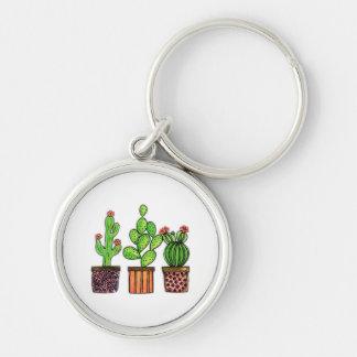 Porte-clés Cactus mignon d'aquarelle dans des pots