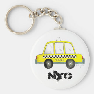 Porte-clés Cadeau Checkered jaune de cabine du taxi NYC New