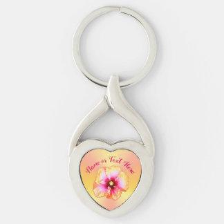 Porte-clés Cadeaux roses et jaunes de ketmie, porte - clé de