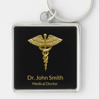 Porte-clés Caducée médical chic d'or sur le noir - porte -