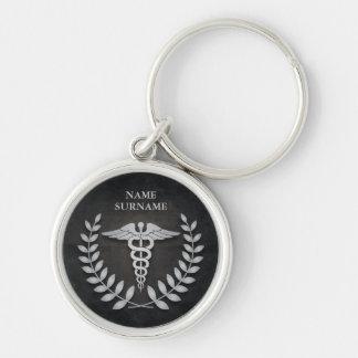 Porte-clés Caducée médical noir et argenté rond personnalisé