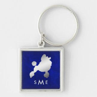Porte-clés Caniche argenté bleu de monogramme