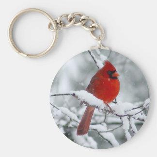 Porte-clés Cardinal rouge dans le porte - clé de neige