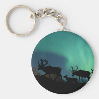 Porte-clés Caribou et lumières du nord