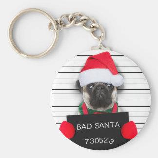 Porte-clés Carlin de Noël - chien de photo - carlin de père