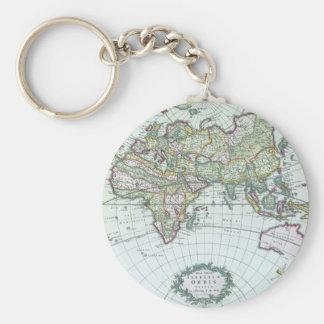 Porte-clés Carte antique du 17ème siècle du monde, Frederick