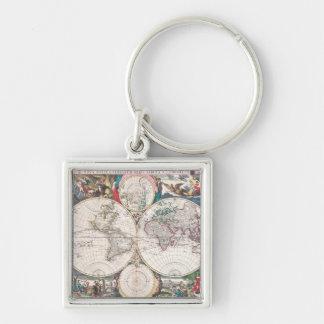 Porte-clés Carte antique du monde de Double-Hémisphère