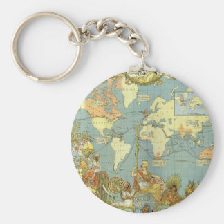 Porte-clés Carte antique du monde de l'Empire Britannique,