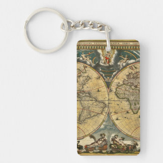 Porte-clés Carte antique J. Blaeu 1664 du monde