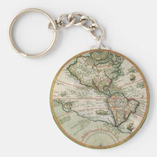 Porte-clés Carte de Vieux Monde antique des Amériques, 1597
