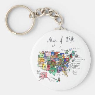 Porte-clés Carte des attractions des Etats-Unis d'Amérique