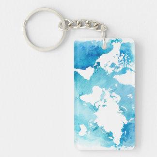 Porte-clés Carte du monde dans des bleus d'aquarelle