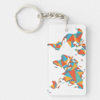 Porte-clés Carte géométrique abstraite du monde