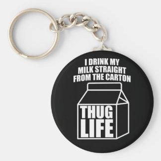 Porte-clés Carton de lait de la vie de voyou (foncé)