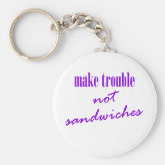 Porte-clés Causez les ennuis, pas sandwichs