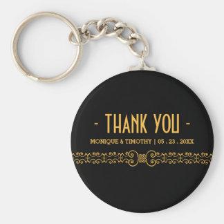 Porte-clés Ceinture fleurie d'or - Merci noir de mariage d'or