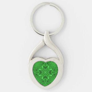 Porte - clés celtiques en métal de trèfle, 4 porte-clé argenté cœur torsadé