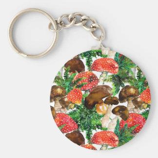 Porte-clés Champignons d'aquarelle et motif vert de fougère