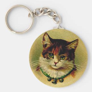Porte-clés Chat aux yeux verts vintage avec des tintements du